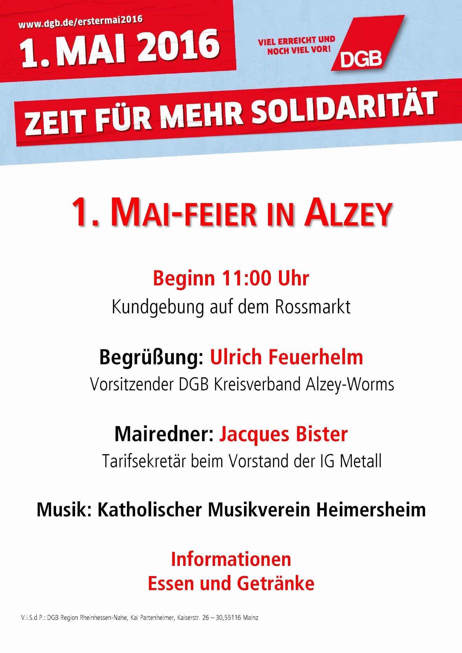 Plakat 1. Mai Alzey